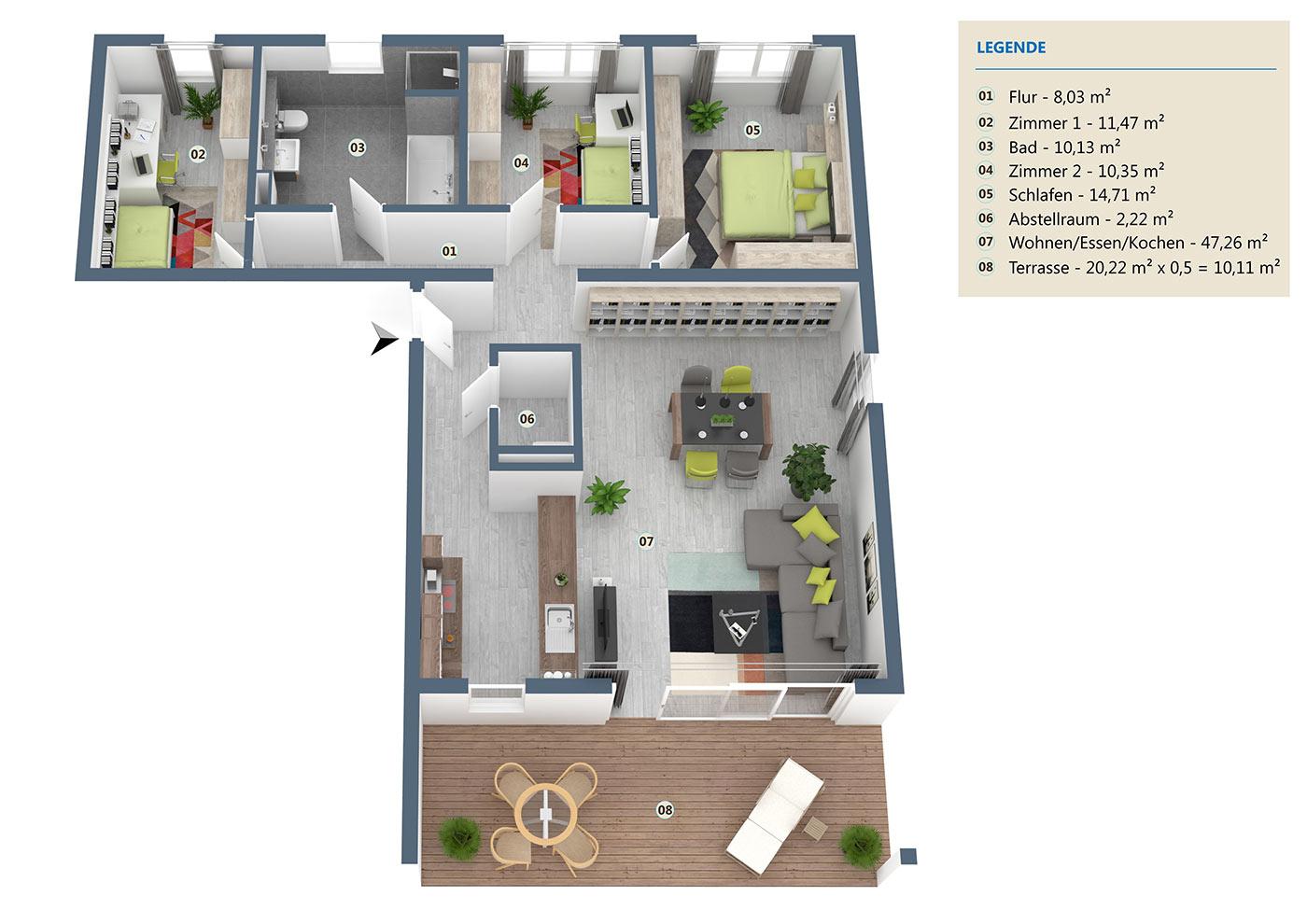 neubau 4 zimmer eigentumswohnung eg 114 m wehr haus. Black Bedroom Furniture Sets. Home Design Ideas