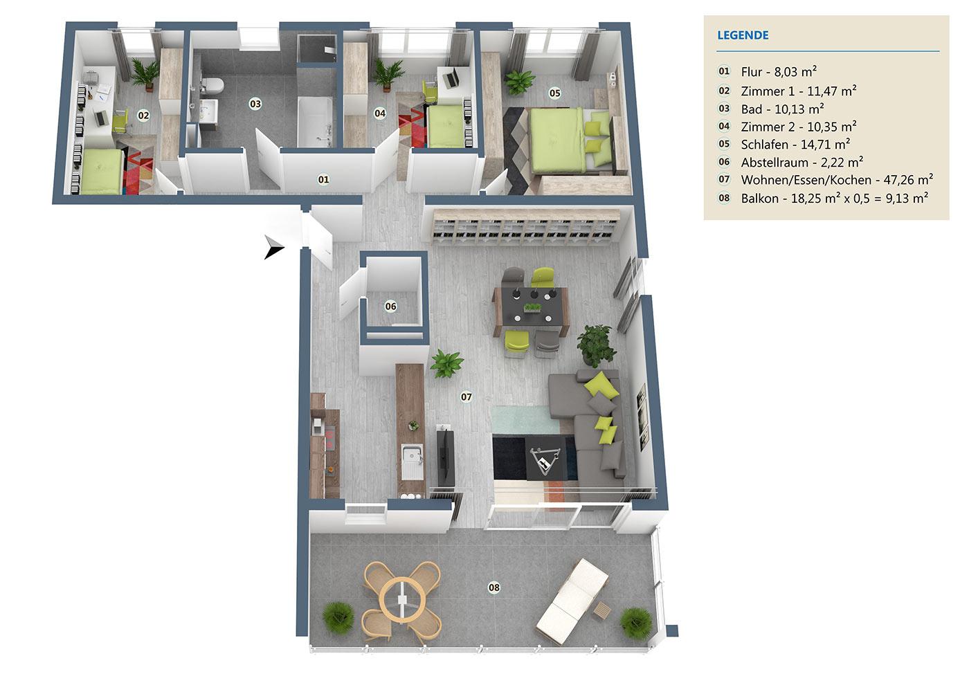 neubau 4 zimmer eigentumswohnung og 112 m wehr haus lessing. Black Bedroom Furniture Sets. Home Design Ideas