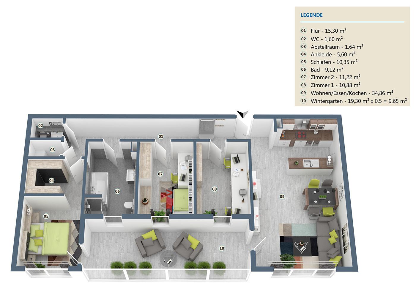 Wohnung05 Haus Lessing Aufteilung