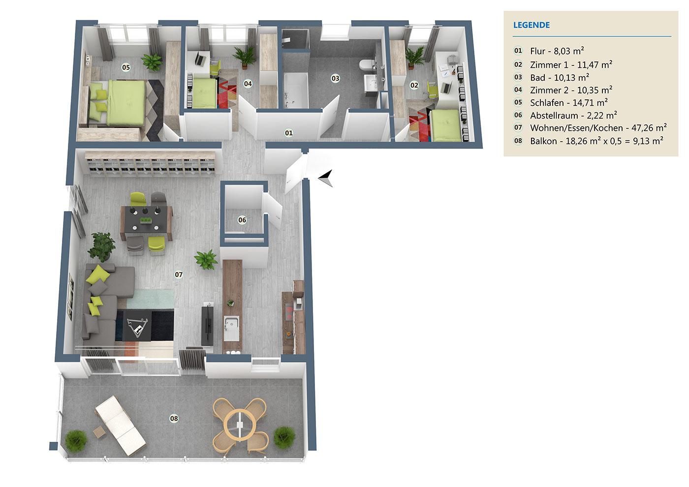 Wohnung06 Haus Lessing Aufteilung
