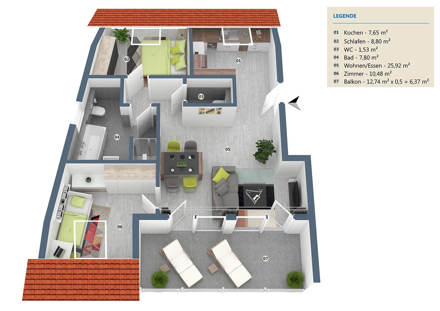 Wohnung06 Haus Schiller Aufteilung